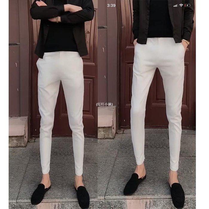 {叮叮小鎮}精神社會小伙褲子黑色西褲男純色修身款小腳褲顯瘦鉛筆褲商務休閒褲B5Y20