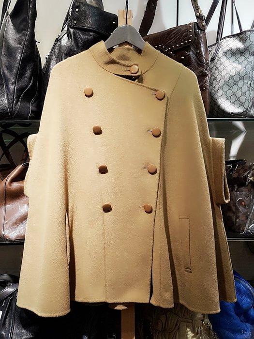 *旺角名店* ㊣ 黃淑琦 羊毛雙排釦 短外套 短大衣 斗篷 披風 披肩