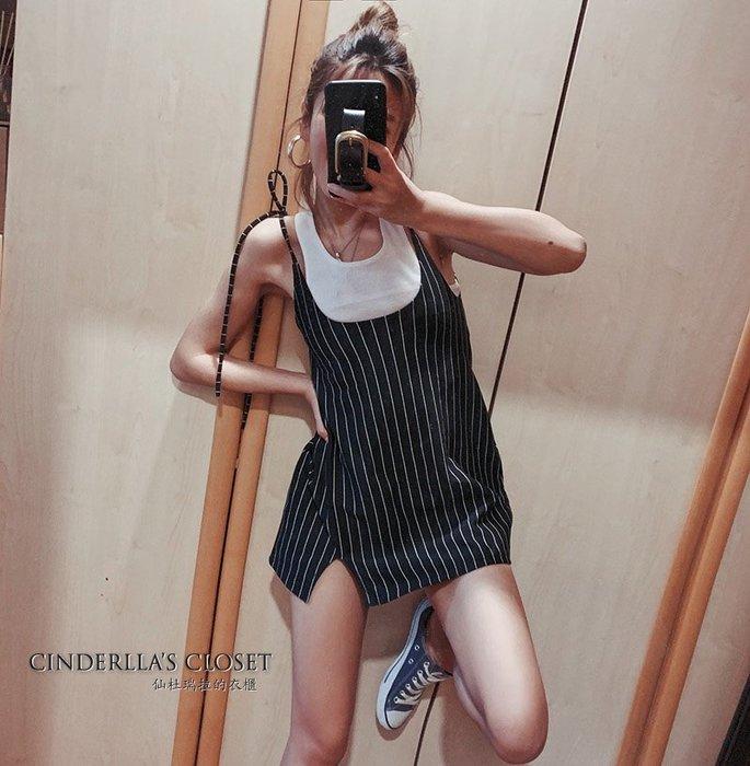 《仙杜瑞拉的衣櫃》sk1120 歐美風格 肩帶綁繩外搭連身裙