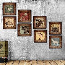 北歐美式客廳裝飾畫床頭牆畫咖啡廳壁畫三聯簡約玄關掛畫動物仿古(8款可選)