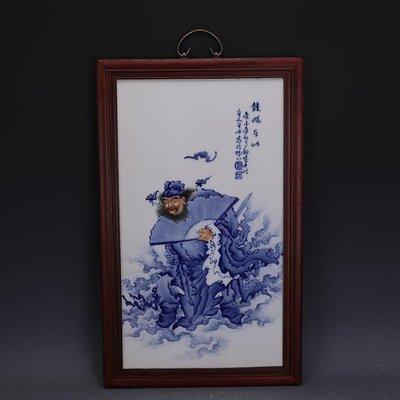 【三顧茅廬】民國青花鬥彩福在眼前鍾馗瓷板畫王步款 古瓷古玩古董收藏品