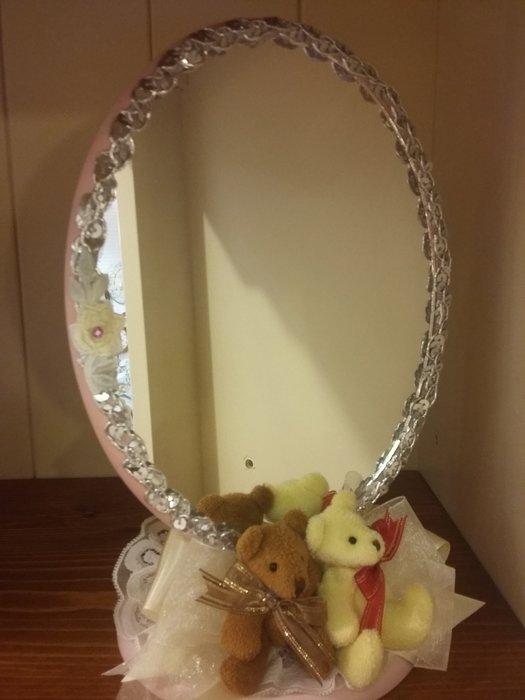 白色法式巴洛克橢圓立體PU浮雕花鏡白色掛鏡 梳妝鏡 玄關鏡 斗櫃鏡