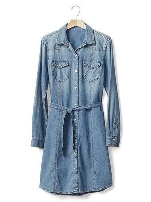 【天普小棧】GAP 1969 Denim Western Shirtdress長袖牛仔襯衫洋裝M號腰部綁帶