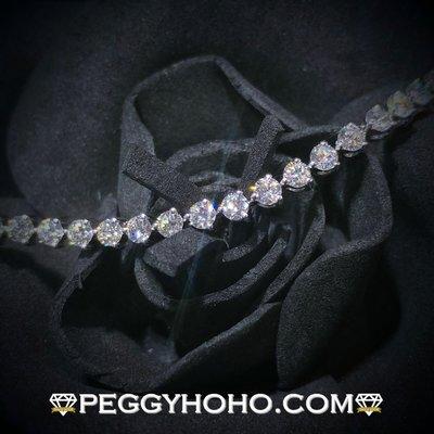【Peggyhoho】全新18K白金3卡89份超白超閃真鑽石手鍊|經典系列 |靚石渾身3爪手鍊