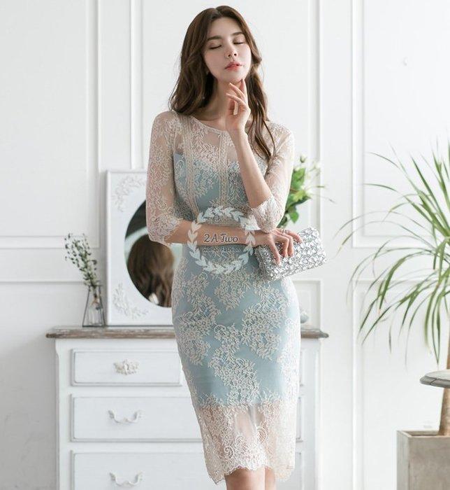 【2A Two】서울연결🍭蕾絲包臀⌒蝴蝶結露背高腰連身裙『BA0621』