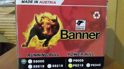 台北蘆洲電池 奧地利 BANNER 紅牛 P6219(62AH) 賓士 BMW 奧迪 福斯 富豪 GOLF MINI