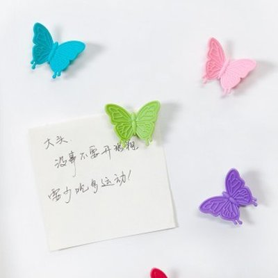 ❃彩虹小舖❃多彩立體蝴蝶磁鐵(一組6入) 冰箱 廚房 櫥櫃 立體 留言 紙條 磁鐵 照片 黑磁鐵【Q215-1】