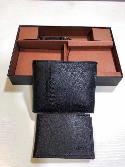 COACH 21371 新款經典荔枝紋牛皮編織男士短夾 錢包 附钥匙扣