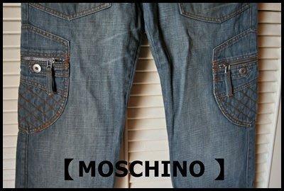 全新專櫃真品【MOSCHINO 】Moschino  JEANS經典單寧藍口袋牛仔褲原價$38700