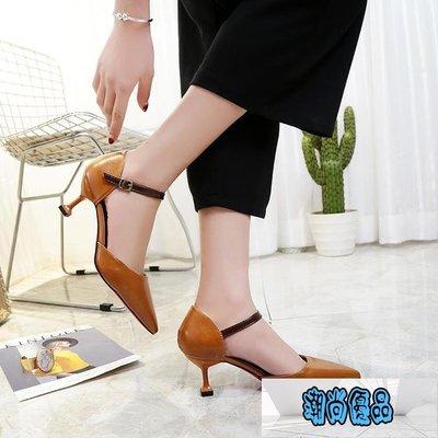 5cm細跟中跟尖頭高跟鞋女一字扣包頭中空羅馬涼鞋夏季新款女單鞋【潮尚優品】