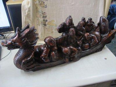 二手舖 NO.3502 老件雕刻 龍舟龍船擺件 工藝品擺設 古董收藏