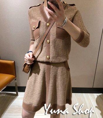 ☆YUNA SHOP☆外單【B-111116】法式氣質小香風閃金絲拚色針織衫+半身裙 套裝/兩色 兩件免運