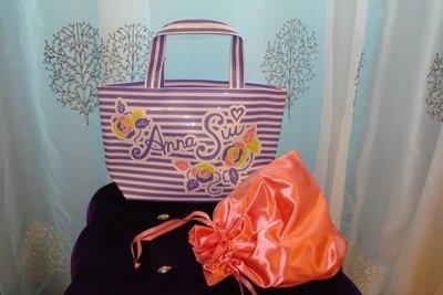 【∮魔法時光∮】 ANNA SUI 安娜蘇 夏日豔陽手提包(含專屬束口包) 粉橘內裡超夢幻 可獨立當便當盒收納袋剛好