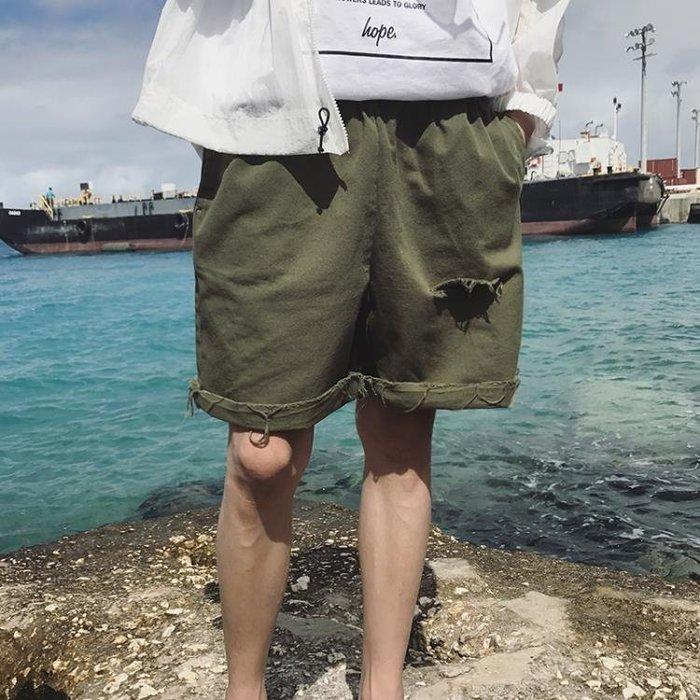 2018夏季新款港風毛邊破洞短褲男休閒褲純色毛邊五分褲子男中褲