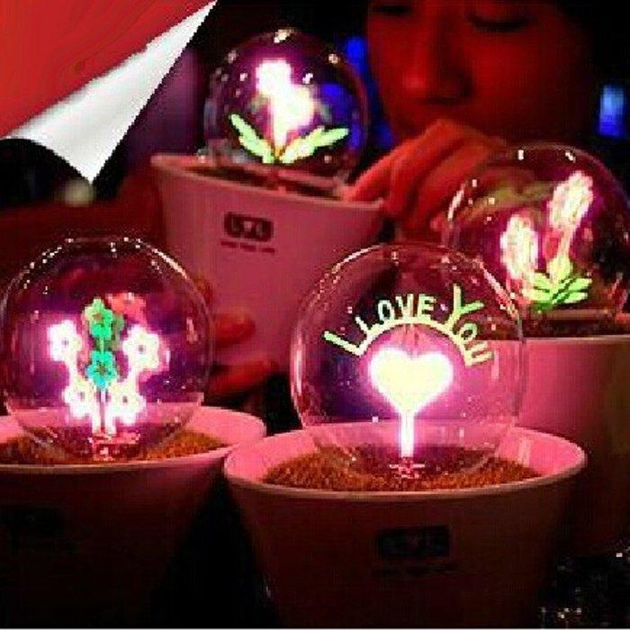 5Cgo【權宇】手工氣氛燈 情人節浪漫禮物 花束燈泡 I LOVE YOU燈泡 精緻花棚造型 110V可用光暗些  含稅