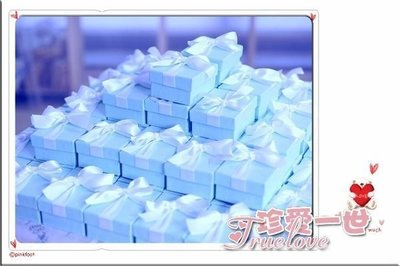 『Truelove 珍愛一世禮品批發 』藍色風格西式喜糖盒 果醬盒 禮品盒 (不需摺疊高級硬盒)