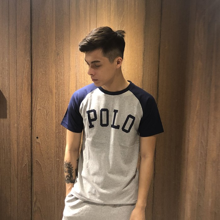 美國百分百【Ralph Lauren】T恤 男款 RL 短袖 上衣 T-shirt Polo 棒球 深藍 灰色 F233