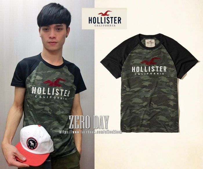 零時差美國時尚網A&F副牌HCO真品Hollister Colorblock Logo Graphic Tee短T迷彩