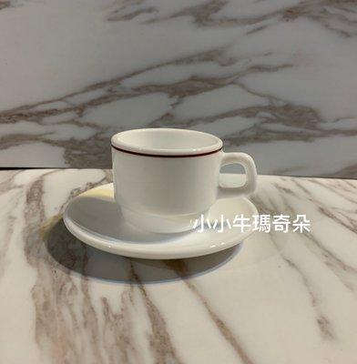 ~小小牛瑪奇朵2~早期法國製ARCOPAL白底紅邊咖啡杯盤組espresso杯盤組