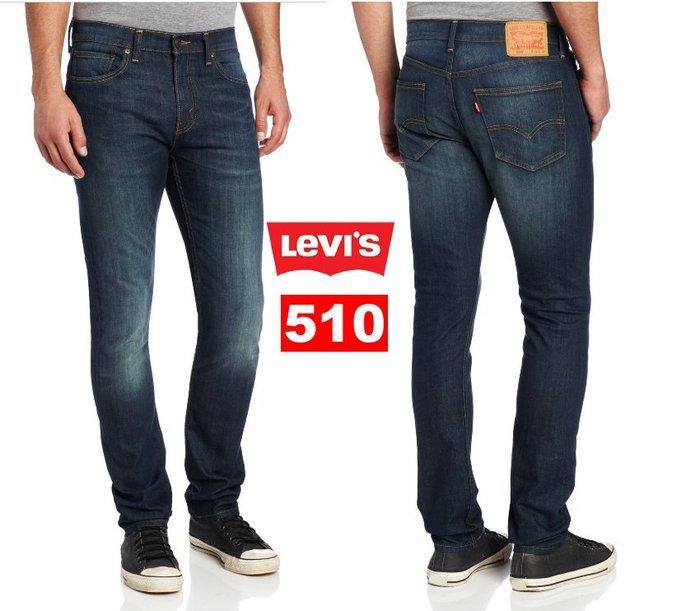 【超搶手】全新正品 美版 Levis 510 0336 Midnight Jeans 低腰 超窄版 水洗刷紋牛仔褲 藍色