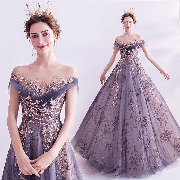 妞妞 婚紗禮服~法式宮廷藍婚紗宴會婚纱長禮服~3件免郵