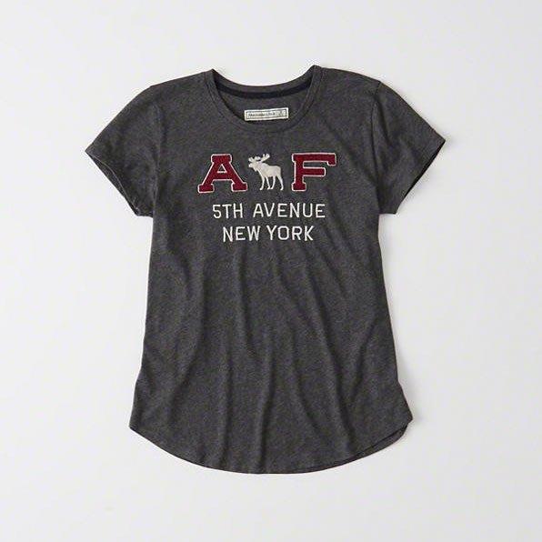美國百分百【Abercrombie & Fitch】T恤 AF 短袖 T-shirt 麋鹿 女款 鐵灰 上衣 H527