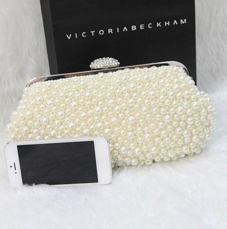 晚宴包2019新款韓版珍珠包包水鑽手拿包新娘手包女包宴會包珍珠鍊條小包