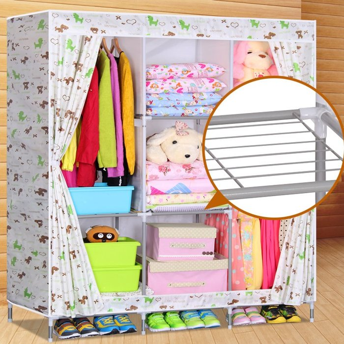 居家 置物架 鞋架 收納架 簡約 創意 網片隔層牛津布布衣柜 加固16MM鋼管大容量雙人簡易衣柜