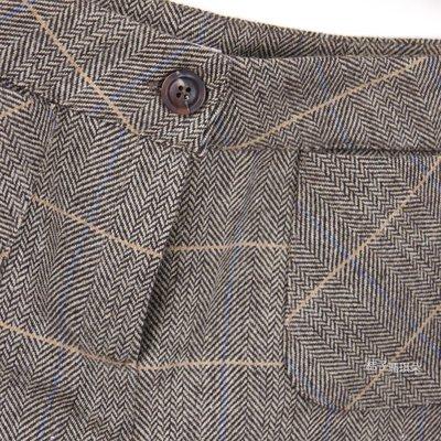 正韓 韓國連線 經典細格線紋 毛料西裝短褲 ~桔子瑪琪朵