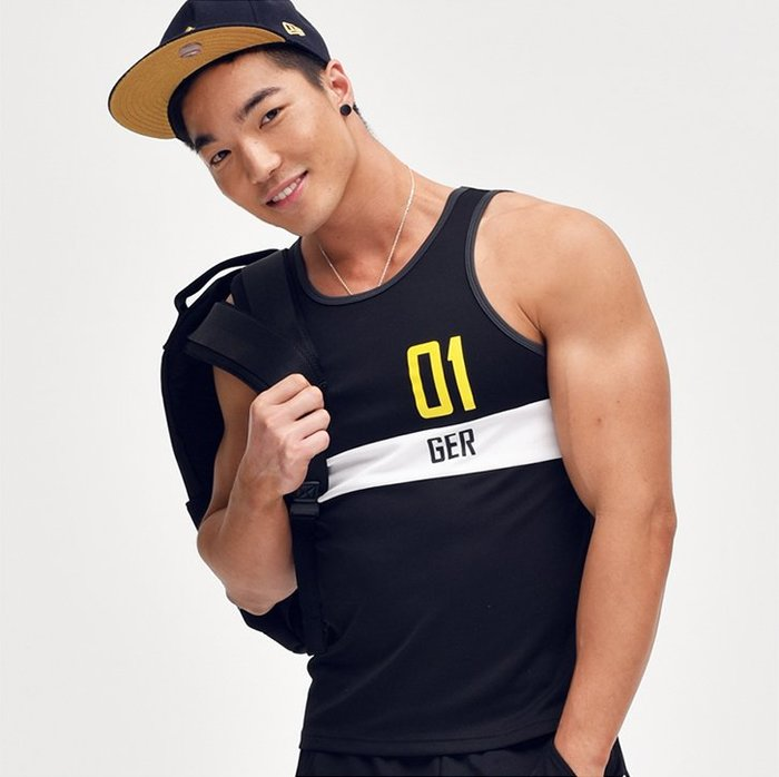 【OTOKO Men's Boutique】固制:雙色復古運動背心/黑色+黃色