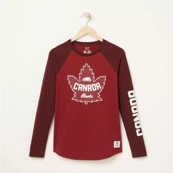 ~☆.•°莎莎~*~~☆~加拿大 ROOTS Heritage Maple Long Sleeve T-shir 棉T~