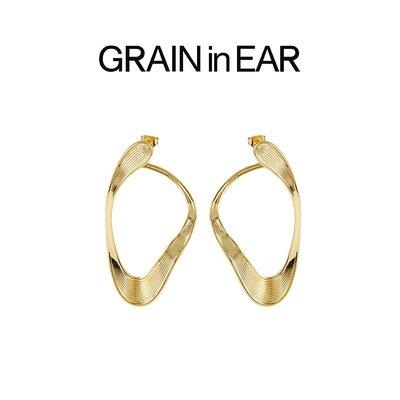 SC STORE~GRAIN in EAR 設計師 小眾 時髦精極簡幾何不規則流線山脈 耳環