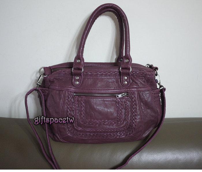 義大利設計師款limitless 水洗小羊皮 口袋編織設計款手提肩背斜背三用包 紫色現貨 SALE
