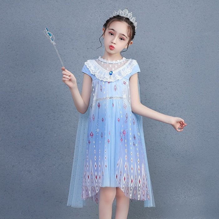 •*~ 辣媽咪衣飾小舖 ~*•❤童裝系列❤K980440韓版大童夏款冰雪奇緣艾莎公主洋氣短袖禮服洋裝 (送皇冠+魔法棒)