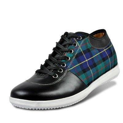 增高鞋 真皮皮鞋-時尚格紋拼接休閒男鞋子2色73pd57[獨家進口][米蘭精品]