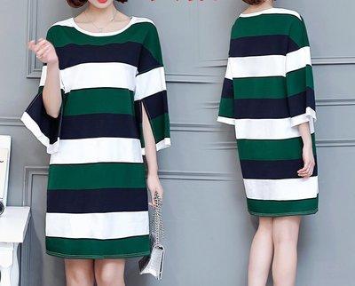 GOGO SHOP☆╭韓系 撞色條紋連身裙 大尺碼洋裝【Y1420】XL~5XL另襯衫 洋裝T恤上衣 大碼水水
