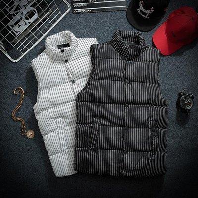 秋冬季條紋馬甲男青少年潮流外套韓版潮流帥氣男士保暖背心櫃馬甲