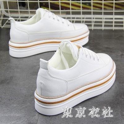 新款百搭厚底鬆糕白鞋原宿白色運動鞋板鞋球鞋小白鞋 QQ8517