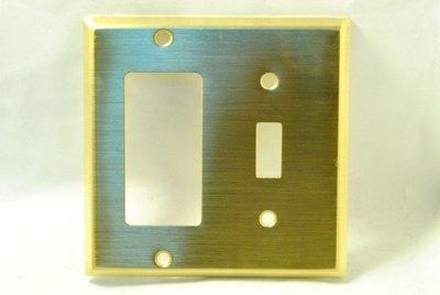 美國 COOPER 雙聯純銅蓋板 單切 方形 94432 (DECORATOR & Toggle)