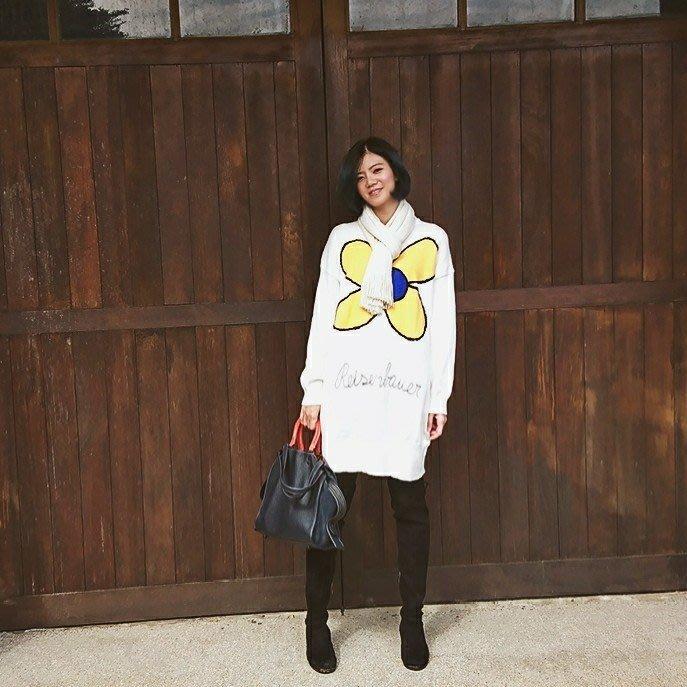現貨 正韓絨毛花朵寬鬆長版針織洋裝大學T 一件式 大碼寬鬆上衣 針織衫毛衣 店長實拍 韓國空運歐美代購 米絲小姐玩時妝