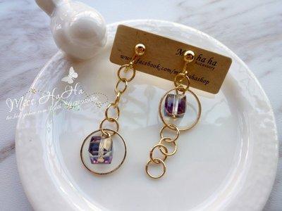*Miss Ha Ha*F122韓.不對稱鎖鍊折射方塊夾式耳環/螺旋夾.現貨180114