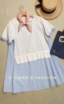 【E-Liner's日裳森活】白色蕾絲刺繡拼接直條紋棉質傘狀長上衣 短袖上衣 小洋裝 日森系少女洋裝
