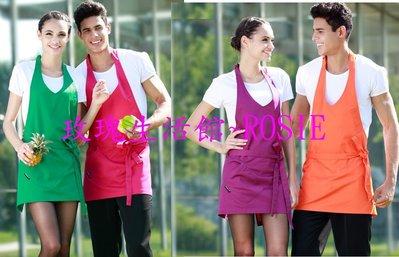 【玫瑰生活館】歐美韓版時尚廚房男女圍裙,工作咖啡西餐廳圍裙工作服圍裙 短,中,長版5色