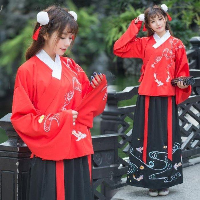 漢服女裝襖裙 二錦鯉刺繡花浪花女士襦裙非古裝漢服女 表演服