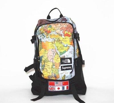 全新正品 SUPREME X TNF 世界地圖 潮流後背包