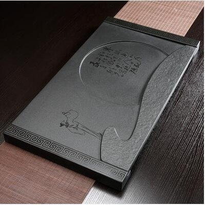 【優上】賞月加石底座37寬烏金石茶磐石頭茶盤天然黑金石茶臺