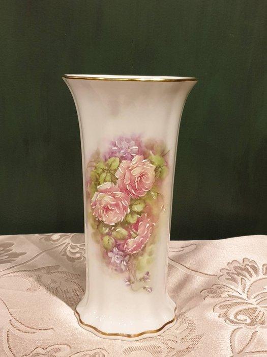 【卡卡頌 歐洲古董】法國 利摩日 浪漫玫瑰  手工立體  簽名  典雅 花邊  描金 花瓶   p1868 ✬