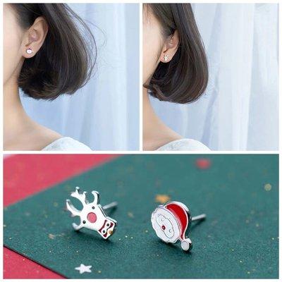 韓 輕巧 可愛 不對稱 聖誕節 馴鹿 聖誕老公公 造型 s925抗敏感 耳針 耳環(可改耳夾)