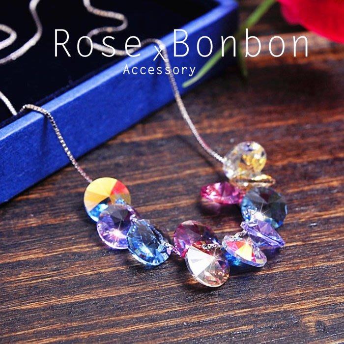 奧地利水晶極光五彩飛碟吊墜項鍊 S925純銀鎖骨鏈 幾何短項鍊 韓版飾品 情人送禮Rose Bonbon G4N01