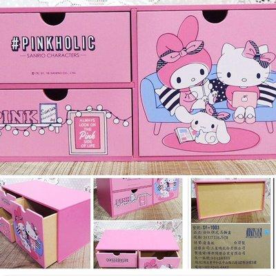 牛牛ㄉ媽*臺灣正版授權Hello Kitty收納箱 凱蒂貓 美樂蒂 大耳狗 橫式三抽置物盒 三抽屜聯名木製款 特價